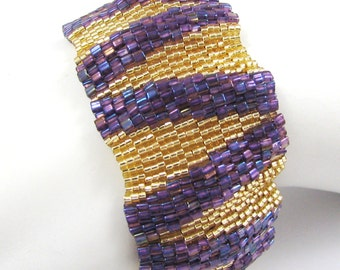 Large Regal Ripples Peyote Cuff (2545) - A Sand Fibers Made-to-Order Creation