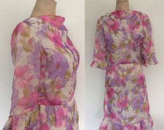 1960's Pink & Purple Watercolor Floral Print Chiffon Dress Size Small Medium by Maeberry Vintage