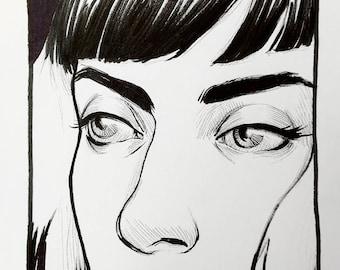 """Original Tusche-Zeichnung """"Lana"""" von Amy Abshier"""