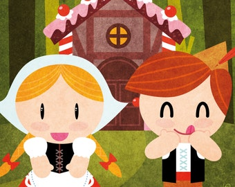Tales - Hansel and Gretel print children kids illustration room decoration