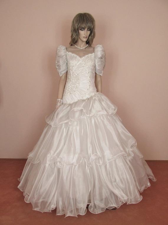 Weiße Hochzeitskleid 80er Jahre Brautkleid Vintage 80er