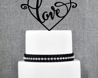 Script Love with Heart Wedding Cake Topper, Custom Romantic Wedding Decoration in your Choice of Color, Elegant Wedding Cake Topper- (T119)