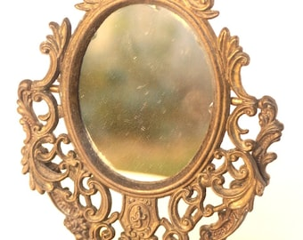 Table mirror- Psyche Bronze- Mirror/Photo Frame- Vintage Empire Style- Decor Flower and Grass- Room decoration- Vintage
