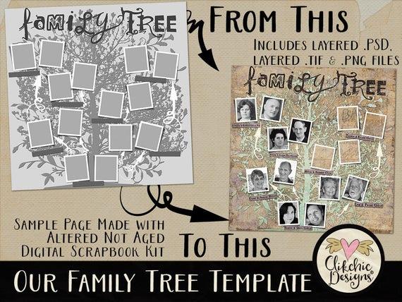 Family Tree Template Vintage Genealogy Template 12x12 Digital