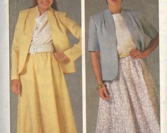 6825 Simplicity Sewing Pattern Easy to Sew Jacket & Flared Skirt Size 14 Vintage 1980s 36B