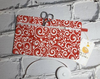 Red Hearts and Scrolls Pencil Case, Knitting or Crochet Notions Pouch, Notion Holder