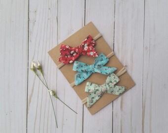 Baby headbands, baby bows, spring hair bows, nylon headbands, floral hair bows