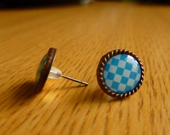 Blue Checkered Stud Earrings