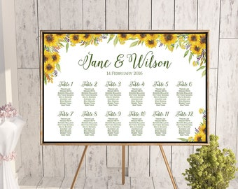Sunflower Find your Seat Chart, Printable Wedding Seating Chart, Wedding Seating Poster, Wedding Sign, Wedding Seating Board TH80 WC164