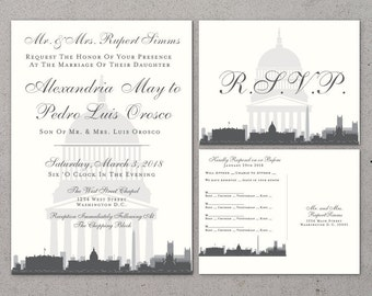 Printable Washington DC Invitation Wedding Party Special Event Flat Other Cities available City Skyline Capitol Building Hometown Travel