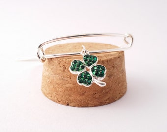 Green four leaf clover rhinestone shamrock bangle bracelet