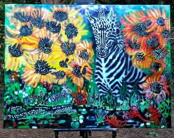 Surreal Airbrush Zebra painting
