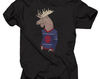 Christmas T-Shirt Hipster Moose Creative Xmas Party Tee Shirt Christmas Gift