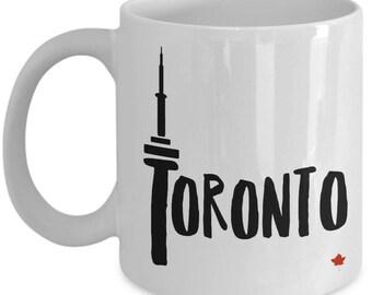 Toronto CN Tower Mug Toronto souvenir mug Maple leaf Canada CN Tower Toronto coffee cup Canadian Cute mug Toronto white mug