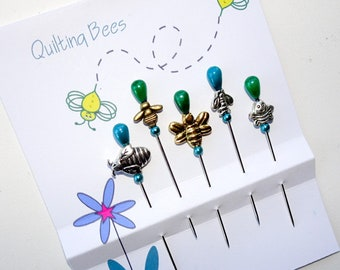 Decorative  Bee Pins - Quilting Bees - Pincushion Pins - Assorted Bees Pins - Quilter Gift - Gift for Sewer - Sewing Supplies - Novelty Pins