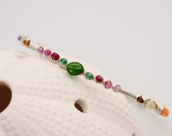 Gemstone Bangle, Argentium Sterling Silver, Chrome Diopside Emerald Ruby Pink Sapphire Tourmaline Peridot Sunstone Yellow Sapphire Opal