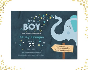 Qty. 25 Elephant Baby Shower Invites Boy Baby Shower Invitations Blue Elephant Stars Boy Sip and See Invitation Sip-n-See Invitations