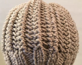 PDF Pattern | Easy Knit Unisex Ribbed Hat/ Hipster Beanie/ Sized from Child to Adult