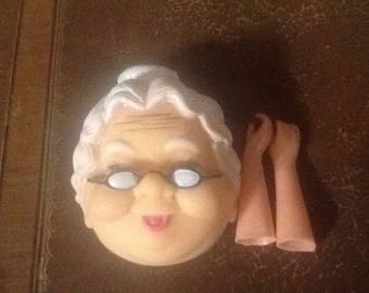 """Vintage, 2 3/4"""" Old Lady, Grandma Head, Open Back With Glasses, Includes set of hands"""