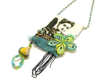 Frida Kahlo Necklace, Fabric Necklace, Pendant Necklace, Long Beaded Necklace, Frida Kahlo Jewelry, Statement Necklace, Boho Style, OOAK