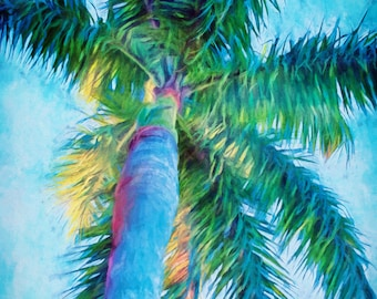 Caribbean Blue Palms II, Palm Trees, Royal Palm, Palm Canvas, Ready to Hang Canvas, Palm Trees, Art Canvas, Tropical Art, Palm Paintings