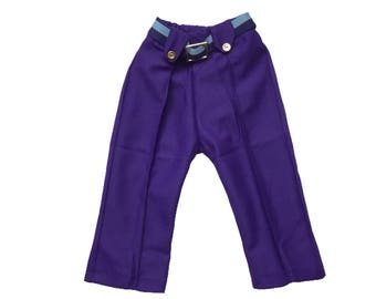 Vintage baby trousers 6-9 months 1960s 60s purple belted vintage baby clothes dead stock