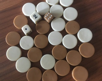 27 Brown and Cream Bakelite Chips from Vintage Backgammon Game
