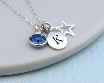 Silver Star Personalized Birthstone Necklace Sterling Silver, Custom Birthstone Initial, Lucky Star Necklace