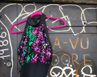 black and rainbow sequined mermaid dress - M - body hugging stretchy black with tulle skirt and sequin halter top