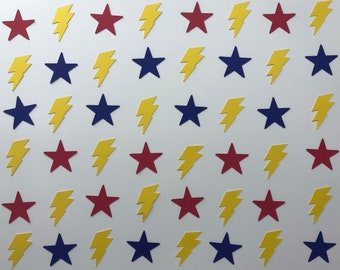 Red and Blue Star and Yellow Lightning Bolt Confetti - Superhero Party Decorations - Superhero Confetti - Boy Birthday Party Decorations