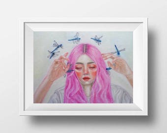 Horror Macabre Pop Surrealism Art Print Oil Painting, Beautiful Pink haired girl, dragonflies, insects, modern, conceptual, fantasy, creepy