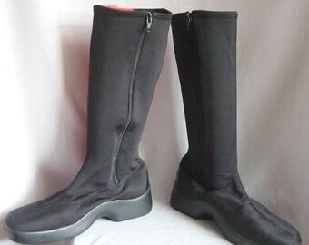 Vintage Black Stretch SPANDEX Boots / size 9 .5 10 m Eu 7 Uk 7 / WIDE LEG Chunky Rubber Sole / Matte Spaceage 90s Tommy Hilfiger