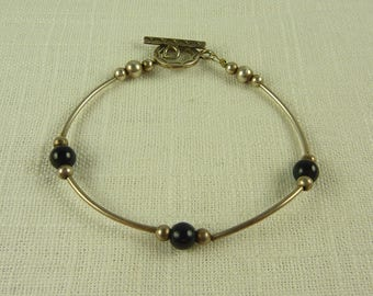 Vintage Sterling and Onyx Thin Bracelet with Toggle Clasp
