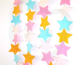 Felt Star Garland - made with wool blend felt in bright candy colours, perfect for kids room or birthday