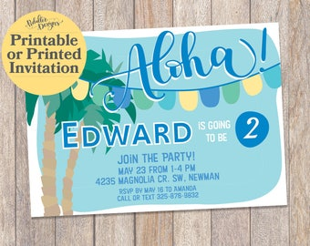 Printable Luau Invitations, Hawaiian Luau Birthday Invitation, Tropical Luau Invitation, First Birthday Invitation, Luau Birthday Invitation
