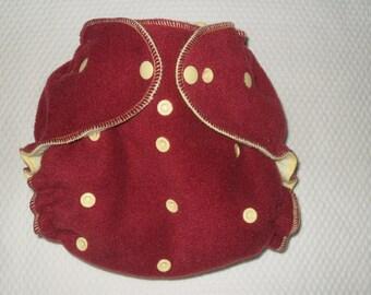 Maroon  fleece diaper  wrap