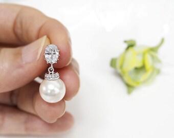 Pearl Earrings, Swarovski Pearl Earrings, cubic zirconia earrings, bridesmaid gift