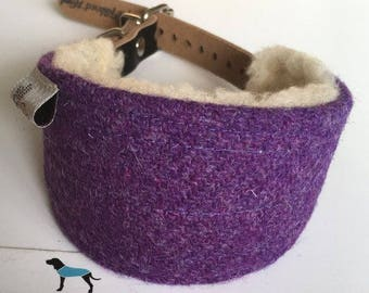 Hound Collar, Harris Tweed collar dog collar, Whippet collar, Saluki collar, Greyhound collar