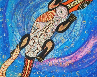"Totem Lizard painting Goanna aboriginal art style original painting spiritual totem painting mixed media on canvas 16x16"" or 40x40 cm"