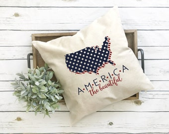 America The Beautiful-Pillow Cover-Independence Day - 4th of July Free Shipping