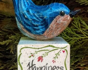 Bluebird of Happiness Carved bird on Inspirational Wooden Block