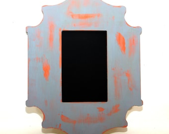 4x6 Chalkboard Frame Orange and Gray Distressed Painted Frame Wedding or Photo Prop