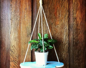 Hanging blue cloud shelf, plants in the clouds, plant hanger, indoor plantscaping, cloud decor