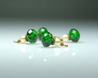 Vintage Style Bead Dangles Emerald Green Glass Set of Four G100