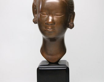 Chinese Sculpted Bronze Female Face Bust with Stand