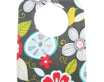 Tropical Gray Reversible Bib with snap closure - lined with cotton batting