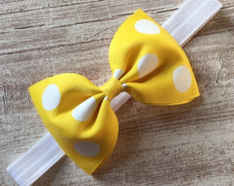Yellow Polka Dot Tux Bow Stretchy Elastic Headband