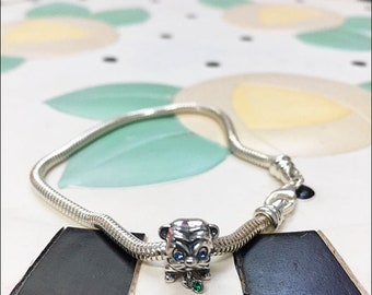 Bulldog Charm on a Sterling Silver 2mm Snake Bracelet