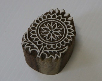 Indian Flower Stamp - Wood Block Printing Stamp Hand Carved #2