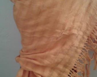 Vtg 90s Orange Woven Cotton Shawl from Mexico